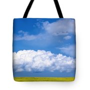 Cumulus Clouds Building Over Canola Tote Bag