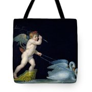 Cupid Being Led By A Pair Of Swans Tote Bag