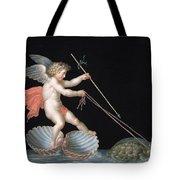 Cupid Being Led By Tortoises Tote Bag