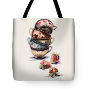 Cups And Strawberries Tote Bag