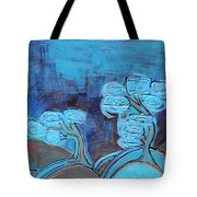 Curly Trees In Blu Tote Bag