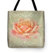Curlyicue Peach Rose With Flourshis   Square Tote Bag