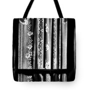 Curtain In Black And White Tote Bag