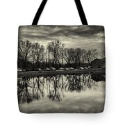 Cushwa Basin C And O Canal Black And White Tote Bag