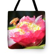 Cute Bee On Camellia Tote Bag