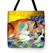 Cute Boxer Dog Portrait Painting Tote Bag by Svetlana Novikova