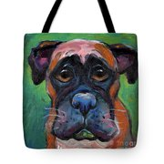 Cute Boxer Puppy Dog With Big Eyes Painting Tote Bag by Svetlana Novikova