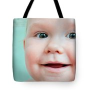 Cute Happy Baby Smiling In A Bathroom Tote Bag