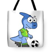 Cute Illustration Of A Parasaurolophus Tote Bag