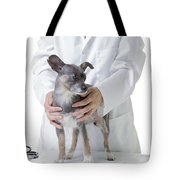 Cute Little Dog At The Vet Tote Bag