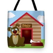 Cute Puppy Dog With Dog House Illustration Tote Bag