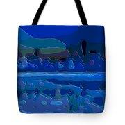 Cutout Art Blue Landscape Tote Bag