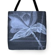 Cyan Negative Wood Flower Tote Bag
