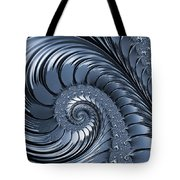 Cyan Scrolls Abstract Tote Bag