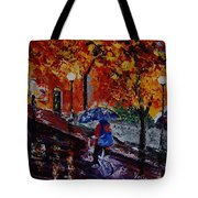 Cycling In The Rain Tote Bag