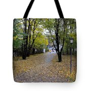 Cyclist And Dog Entering Park Tote Bag by Imran Ahmed