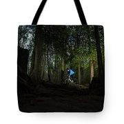 Cyclist In Mountain Forest Tote Bag