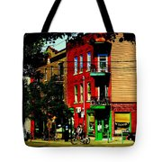 Cyclists Crossing Rue Clark Corner Wilensky Spring Street Scene Montreal Art Carole Spandau Tote Bag