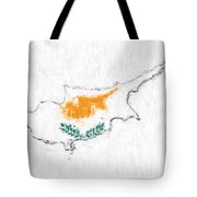 Cyprus Painted Flag Map Tote Bag