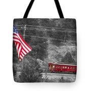 Cyrus K. Holliday Rail Car And Usa Flag Bwsc Tote Bag