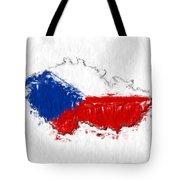 Czech Republic Painted Flag Map Tote Bag