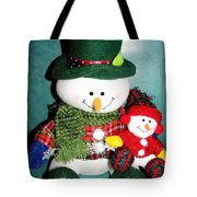 Daddy And Baby Snowmen Decorations Tote Bag
