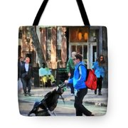 Daddy Pushing Stroller Greenwich Village Tote Bag