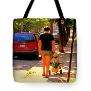 Daddy's Little Buddy Perfect Day Wagon Ride Montreal Neighborhood City Scene Art Carole Spandau Tote Bag