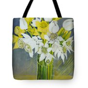 Daffodils And White Tulips In An Octagonal Glass Vase Tote Bag