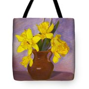 Yellow Daffodils On Purple Tote Bag