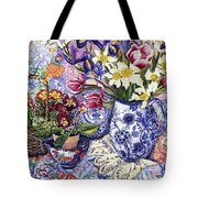 Daffodils Tulips And Iris In A Jacobean Blue And White Jug With Sanderson Fabric And Primroses Tote Bag