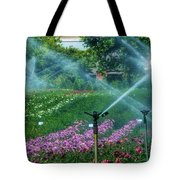 Dahlia Field Farm Scene Tote Bag
