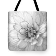 Dahlia Flower Black And White Tote Bag