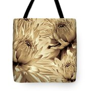 Dahlia Flowers Bouquet Sepia Tote Bag