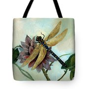 Dahlia With Dragonfly Resting Tote Bag