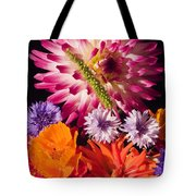 Dahlia Zinnia Bachelor's Buttons Flowers Tote Bag