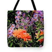 Dahlias And Asters Tote Bag