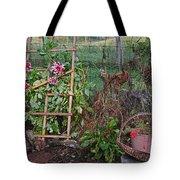 Dahlias And Chickens Tote Bag