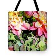 Dahlias And Hydrangeas Bouquet Tote Bag