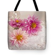 Dahlias And Lace Tote Bag