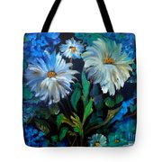 Daisies At Midnight Tote Bag