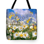Daisies On A Hill - Impressionism Tote Bag