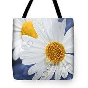 Daisy Flowers With Water Drops Tote Bag