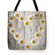 Daisy Heart On Old Wood Tote Bag