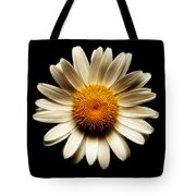Daisy On Black Square Fractal Tote Bag