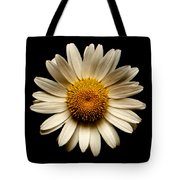 Daisy On Black Square Tote Bag