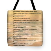 Dalai Lama A To Zen Of Life Typography On Watercolor Ocean Sunset Tote Bag