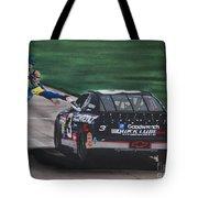 Dale Earnhardt Wins Daytona 500-pit Road Hand Shake Tote Bag