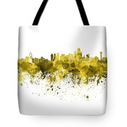 Dallas Skyline In Yellow Watercolor On White Background Tote Bag