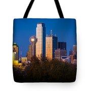 Dallas Skyline Tote Bag by Inge Johnsson
